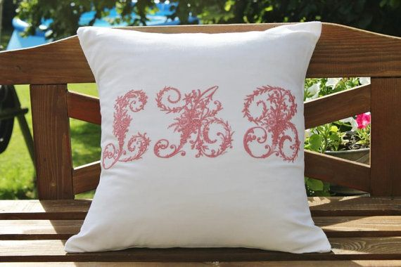Embroidered Vintage French Linen Personalised Cushion Pillow Cover Triple Monogram 45 x 45 cm All Initials & Colours Available