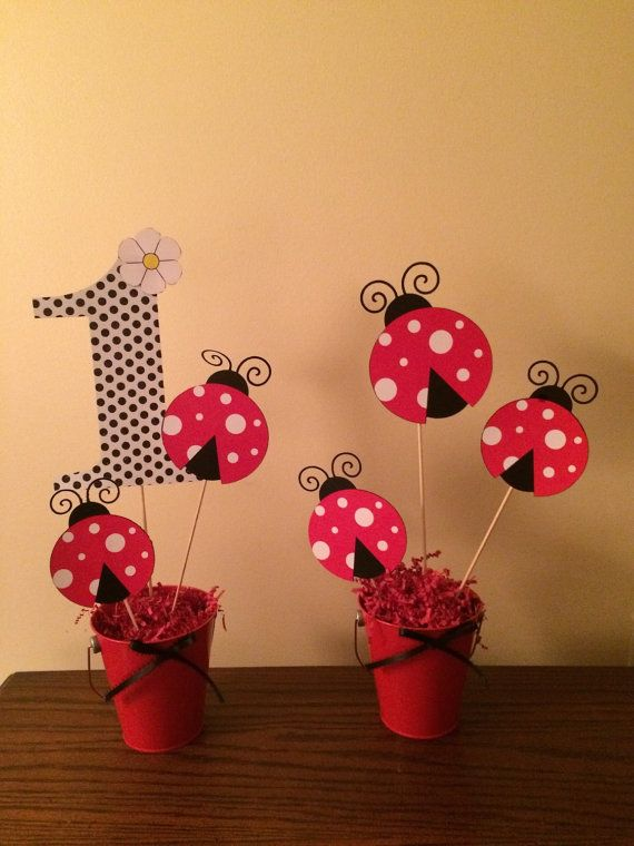 Lady Bug Centerpieces by BestPartyEverInc on Etsy