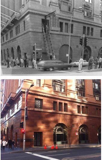 Testing the fire escape of the Commonwealth Bank, Martin Place c1980 > 2016. [Commonwealth Bank > Les de Belin. By Les de Belin]