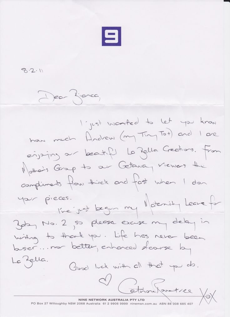 Letter from Catriona Rowntree from mail out campaign executed at La Bella Creations.