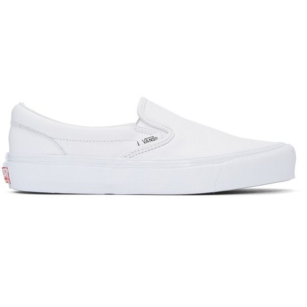 Vans White OG Classic Slip-On Sneakers ($83) ❤ liked on Polyvore featuring shoes, sneakers, white, white sneakers, white leather trainers, white slip on shoes, vans shoes and rubber sole shoes