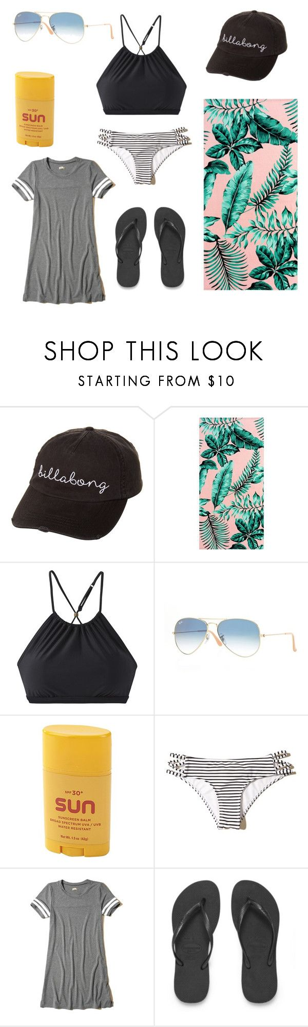 """Beach/ pool day Outfit"" by neongirlz5 on Polyvore featuring Billabong, PBteen, prAna, Ray-Ban, Title Nine, Hollister Co. and Havaianas"