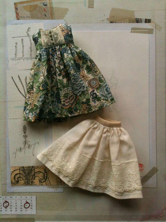 Liberty Empire Dress set for Blythe- Green