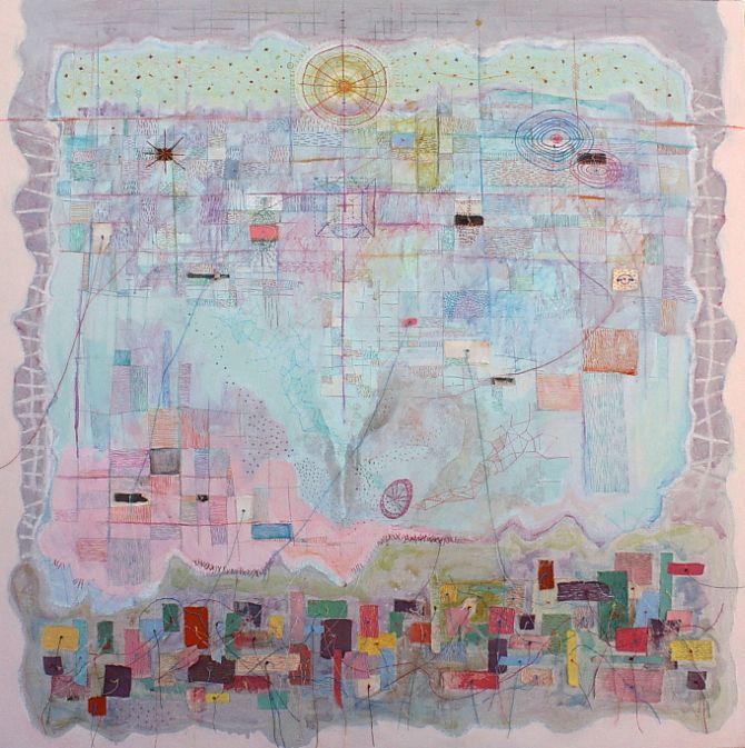 """Near you"", acrylics, textil, 100X100cm"