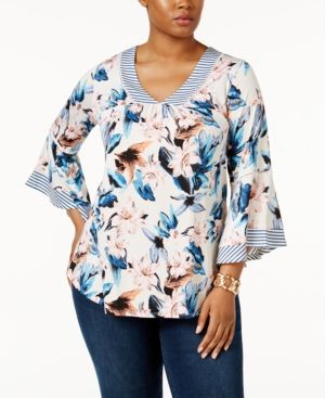Ny Collection Plus Size Bell-Sleeve Printed Top - White 3X