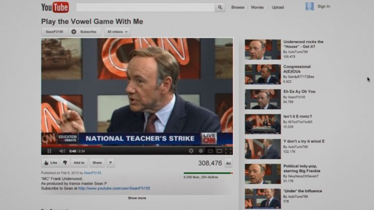 Youtube website and CNN TV channel in HOUSE OF CARDS: CHAPTER 6 (2013) @YouTube