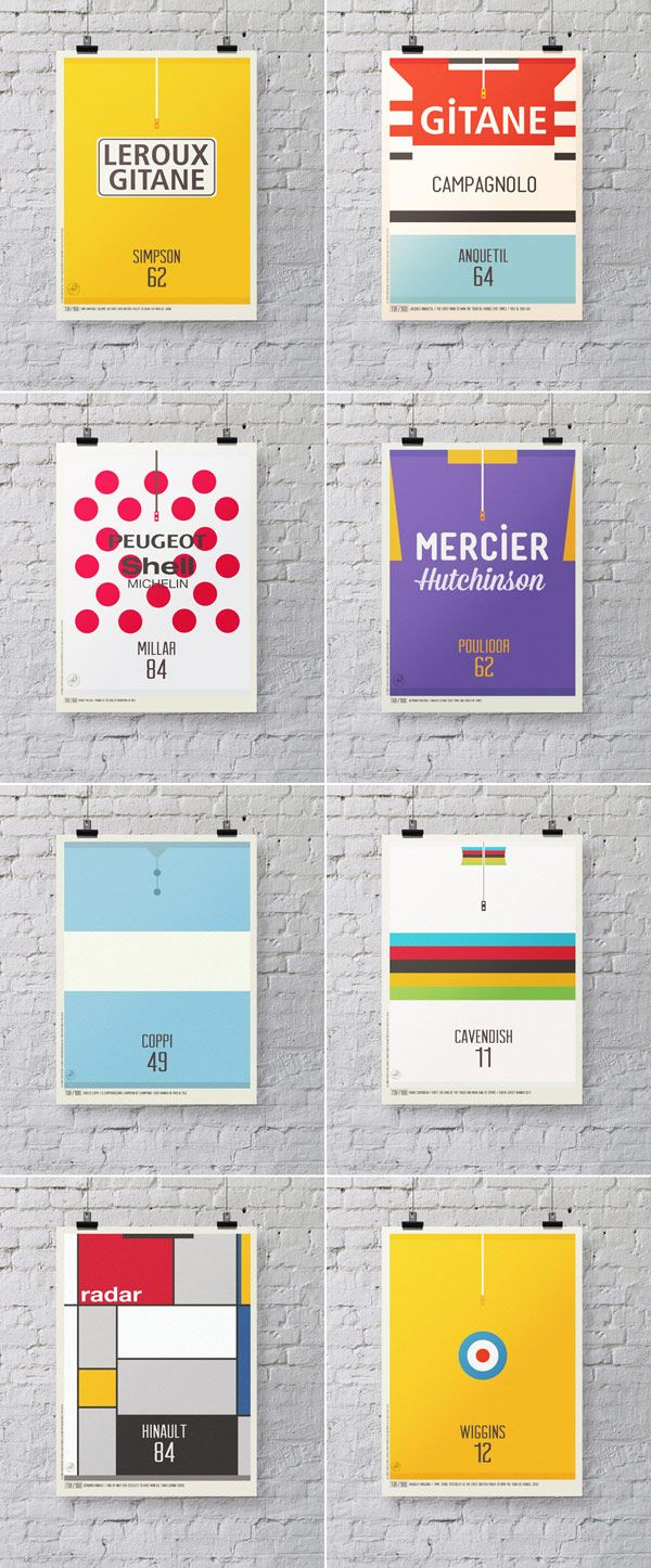 Minimalist Tour de France print series of iconic cycling jerseys created by London based illustrator, Neil Stevens.