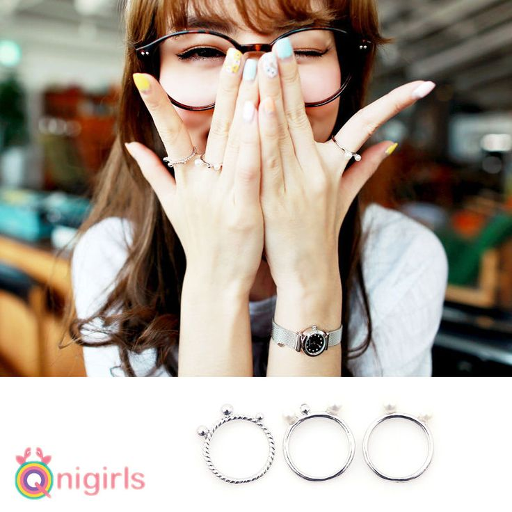 NEW Qnigirls Womens Need 4 Silver Rings Korean Wave Hallyu #Qnigirls #Solitaire