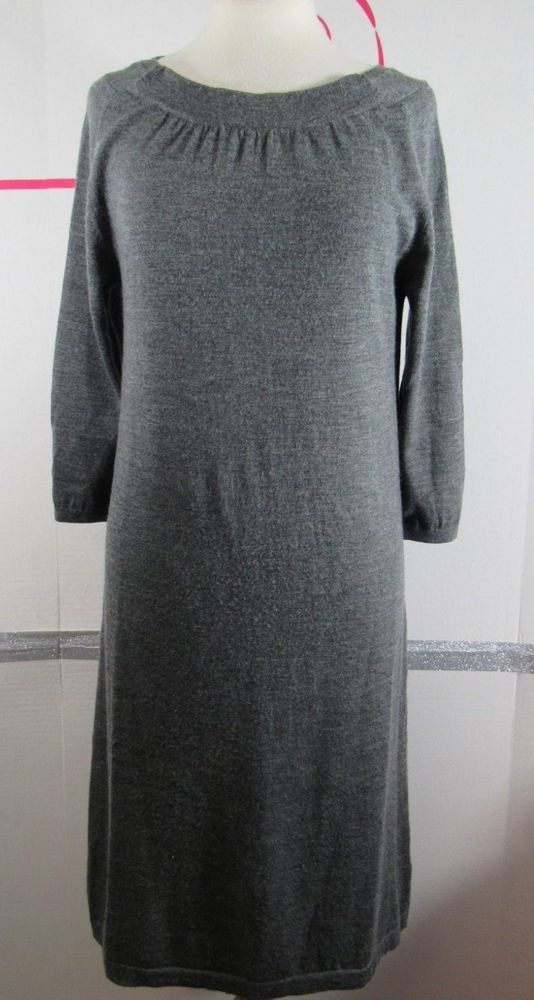 c727a4e813b Lands End Sweater Dress Small 6-8 Merino Wool Dark Gray Pleated neckline  3 4 sle  LandsEnd  SweaterDress