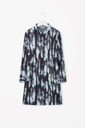 Brush print denim dress