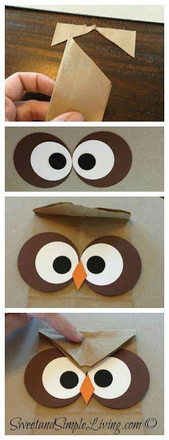 más y más manualidades: Convierte las bolsas de papel en envolturas de búho.