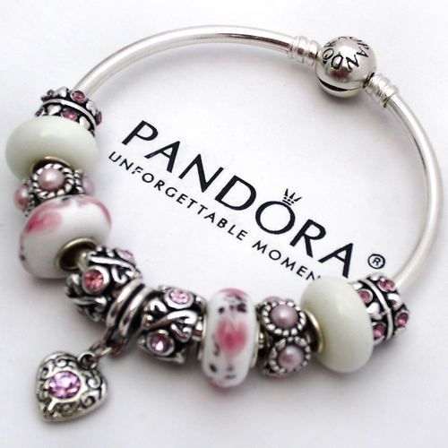 Authentic Pandora Bangle Bracelet Silver Pink White Love Murano Charm Bead