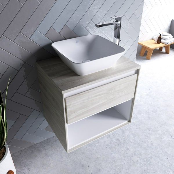 Ideal Standard Concept Air Wood Light Grey And Matt White Countertop Vanity Unit And Basin 600mm Vanity Units Vanity White Countertops