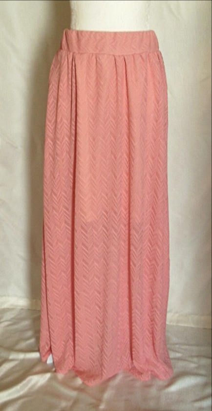 Extra Long Coral Chevron Maxi Skirt #indiesunclothing #handmade #coral #coralchevron #chevron #maxi #maxiskirt #extralong #long #tall #skirt #womensclothing #womensskirts #womensfashion