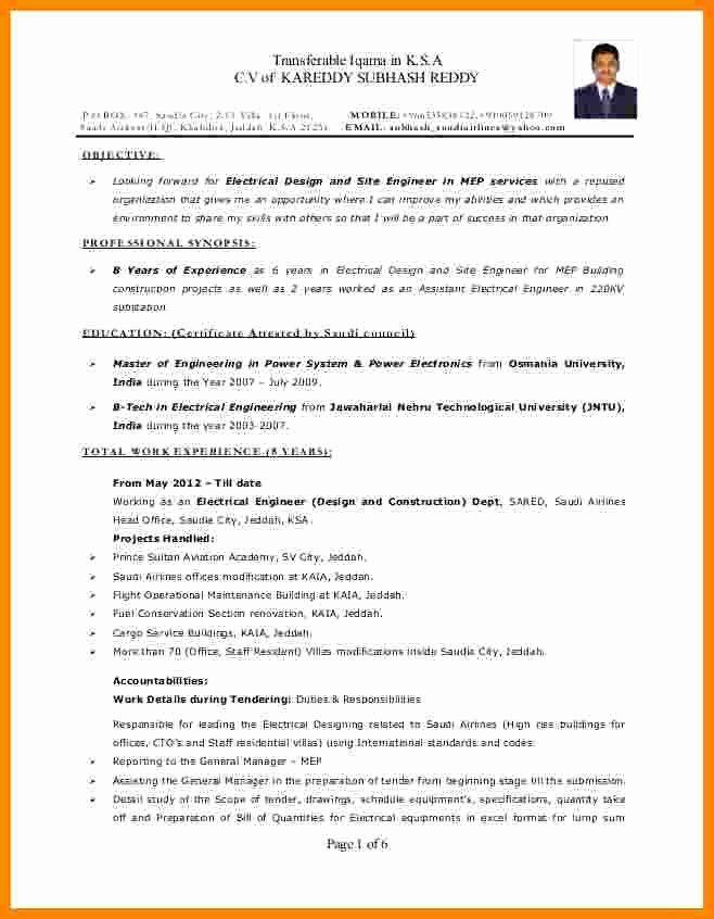 Electrical Engineer Resume Example Best Of 5 Curriculum Vitae Electrical Engineer Resume Examples Engineering Resume Job Resume Examples