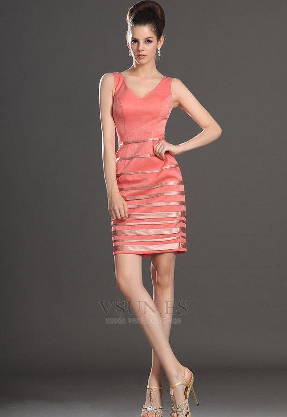 Vestido de cóctel Sin mangas Corte Recto Escote en V coral Verano Broche de cristal