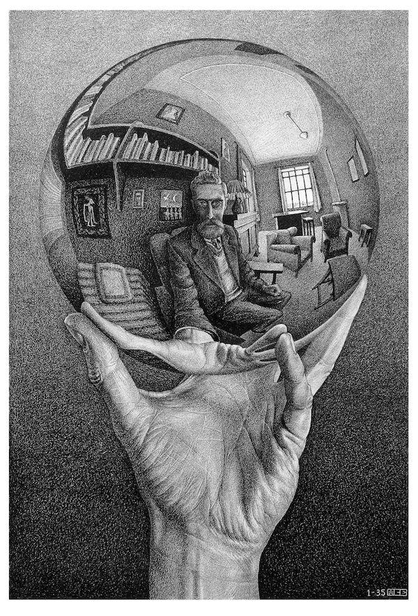 La mostra di Escher a Roma -Maurits Cornelis Escher,  Mano con sfera riflettente,  1935,  litografia