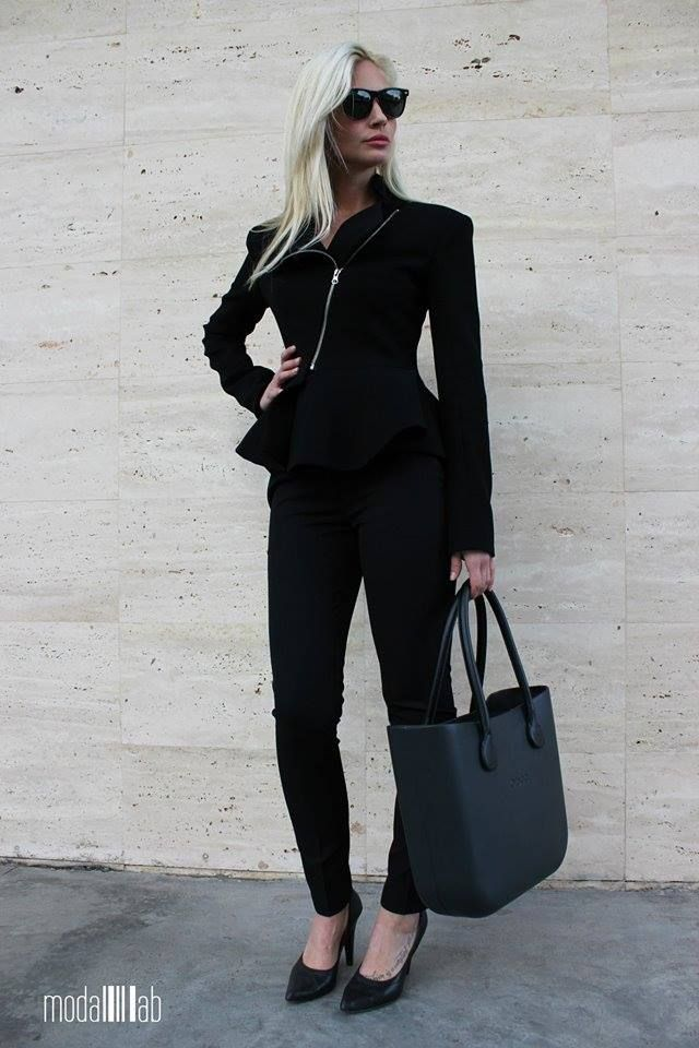 Fullspot O Bag In Black With Black Leather Handle