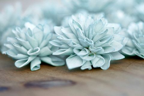 10 Hydrangea Blue Wooden Flowers, Wedding Decor, Floral Decor – Company Forty Two