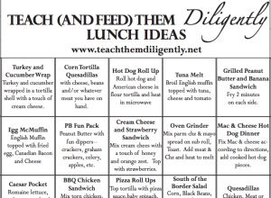 FREE HOMESCHOOL LUNCH IDEAS PRINTABLE from Teach Them Diligently's blog today!       Head over to download yours!           //