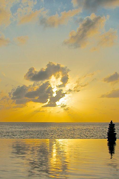 sky, clouds, sand, beach, water, sun...bliss