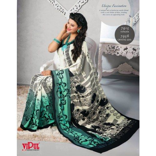 Online Shopping for Designer printed saree in black and | Georgette Sarees | Unique Indian Products by India Vogue  - MINDI38430369680