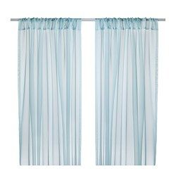 """TERESIA sheer curtains, 1 pair, turquoise Length: 98 """" Width: 57 """" Weight: 5 lb 1 oz Length: 250 cm Width: 145 cm Weight: 2.30 kg"""