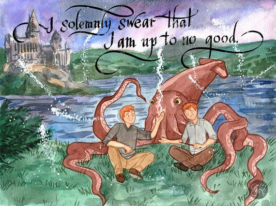 Harry Potter Fred George The Giant Squid Etsy Harry Potter Fan Art Happy Drawing Harry Potter Giant