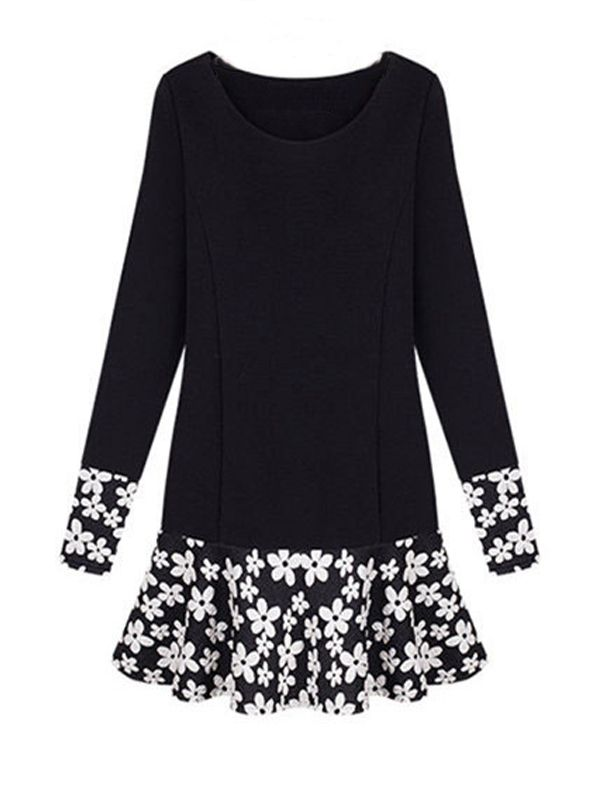 S-XXXL Black Sweet Floral Hem Plus Size Long Sleeve Dress