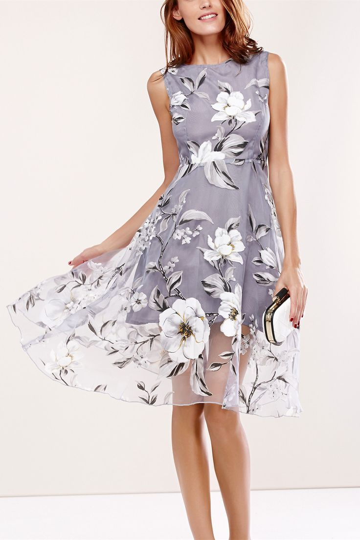 $20.08 Floral Print Round Neck Sleeveless Spliced Dress