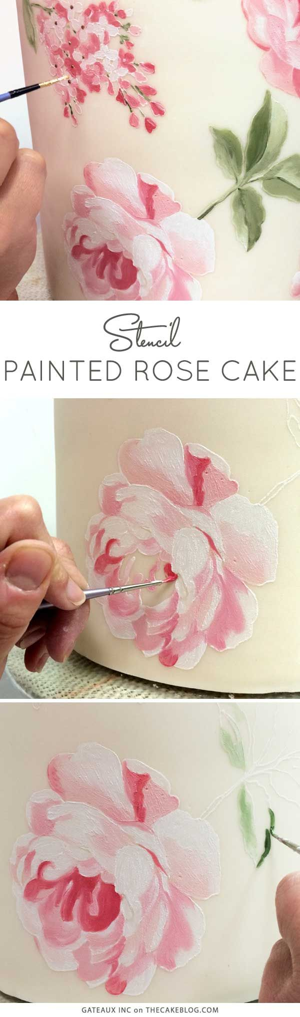 How to stencil-paint a cake | Learn how from Gateaux Inc on TheCakeBlog.com. Via @thecakeblog. #cakes #DYI