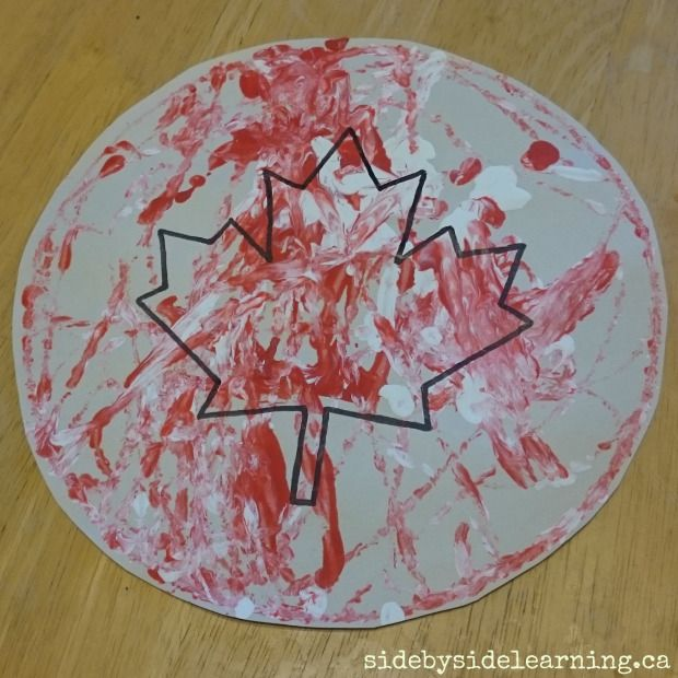 Canadian Maple Leaf Marble Painting