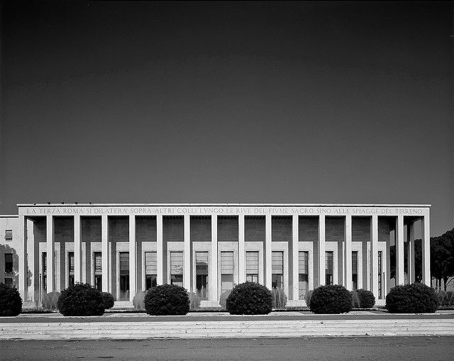 The Palazzo degli Uffici dell'Ente Autonomo at the E.U.R. area in Rome. In 1939 this was the first building to be finished as part of the Esposizione Universale Roma. It housed the offices for the exhibition and a large hall and was designed by Gaetano Minucci. Photo by Space 4.