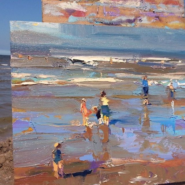 389 vind-ik-leuks, 19 reacties - Roos Schuring Paintings (@rosepleinair) op Instagram: 'Sunny beach, most often May will give us a few real sunny hot beach days. Cold wind near the water.…'