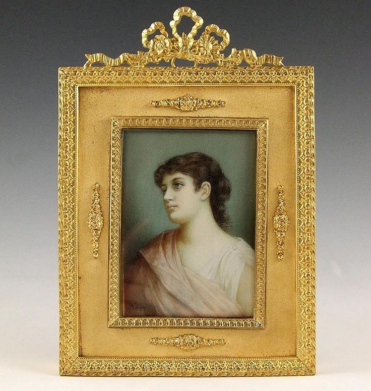 collectible antique miniature portraits | Antique Austrian Miniature Ivory Portrait Gilt Bronze Frame from ...