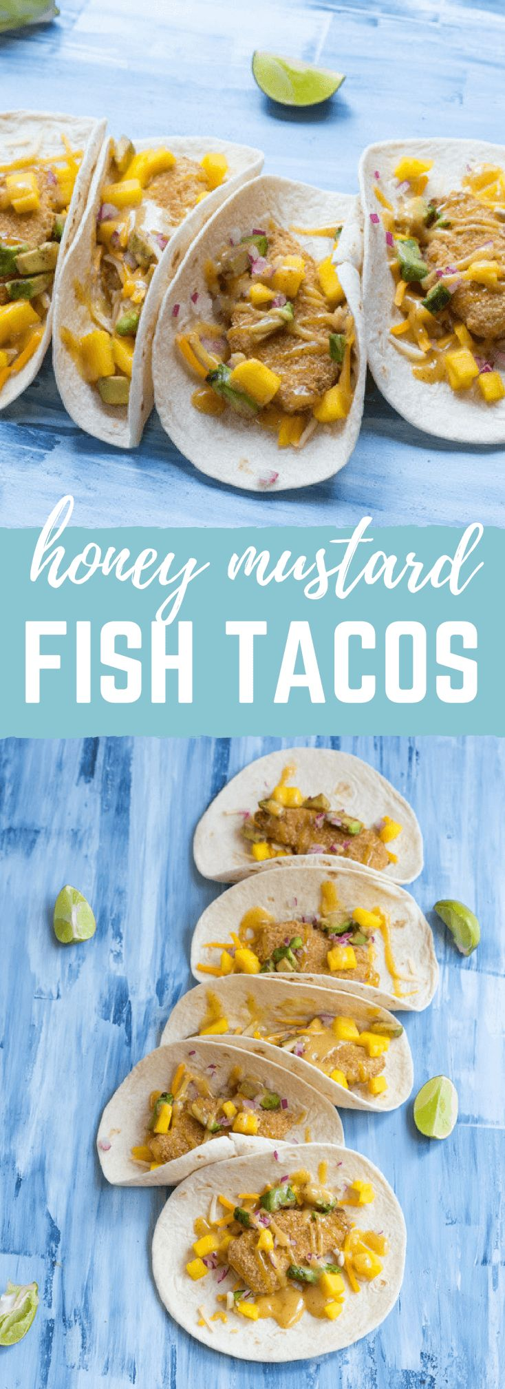 Honey Mustard Fish Tacos made with wild caught pollock tenders, onion, mango, avocado, and cheese nestled in a tortilla and drizzled with honey mustard! A tasty dinner on the table in less than 20 minutes.