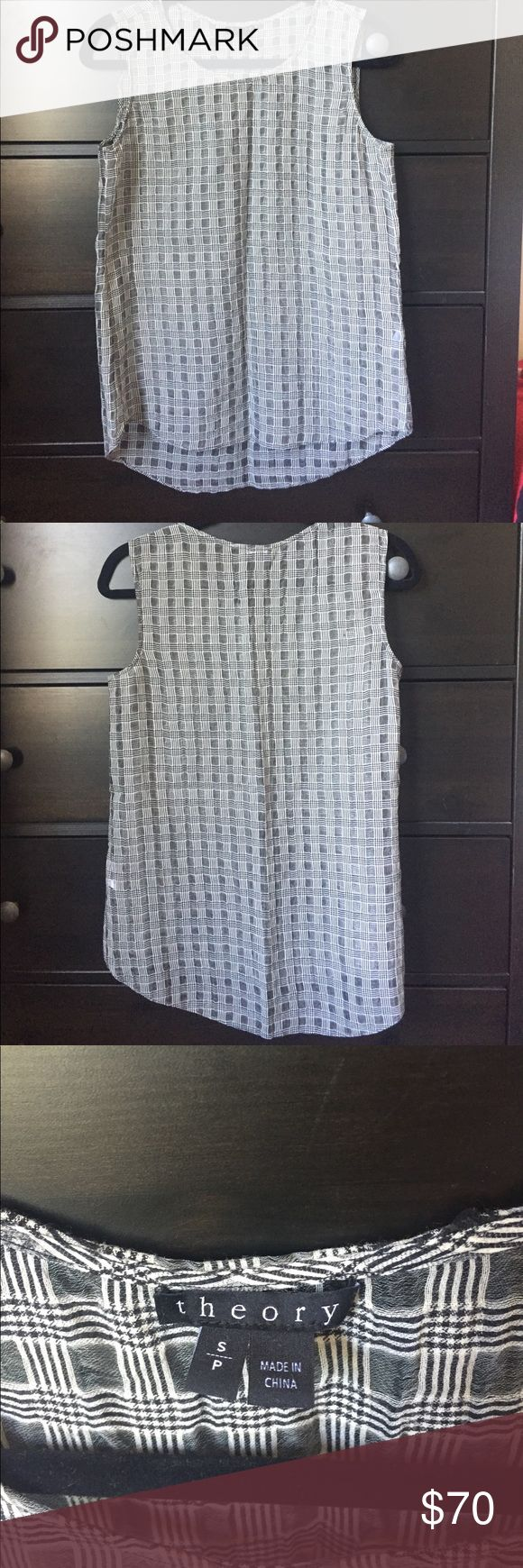 Theory Bringa Filleo Shirt Never worn Theory tank top. It is a black/white checkered pattern. It is also sheer- which is why I never wore it. Would go great with a black tank top under it. Theory Tops Tank Tops