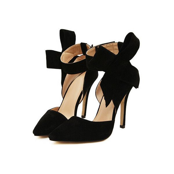 Black With Bow Slingbacks High Heeled Pumps (255 DKK) ❤ liked on Polyvore featuring shoes, pumps, heels, pointed-toe pumps, bow pumps, black pointed-toe pumps, black high heel pumps and black pumps