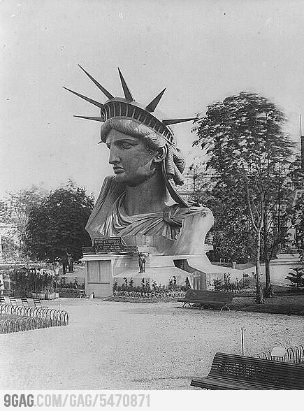 Statue of Libertys Head in Paris 1878 before being shipped to US as a gift from France