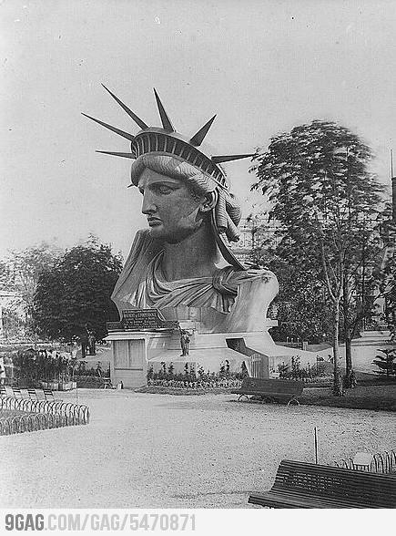 Statue of Libertys Head in Paris 1878