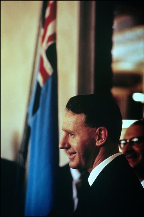 Prime Minister Ian Smith, Southern Rhodesia, 1965, photograph by Ian Berry. Prime Minister of Southern Rhodesia from 1964 through November of 1965, Smith unilaterally declared independence from the United Kingdom at the end of that year, serving as Prime Minister of Rhodesia until 1979 under white minority rule.