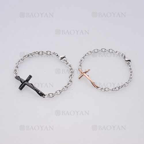 574b2c5705bc brazaletes con cruz de plateado en acero para pareja-SSBTG1125145 ...