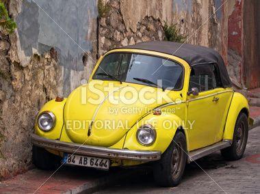 Convertible Yellow VW Beetle Royalty Free Stock Photo