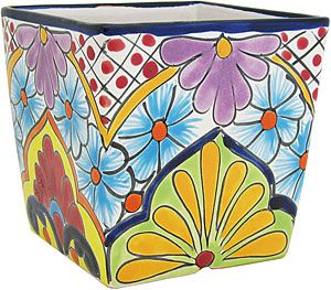 These chico Talavera planters feature wonderfully intricate floral patterns that will look great with your plants, indoors or out!  The ceramic of these Talavera planters is hand-painted in Dolores Hidalgo, Mexico, and embodies all the classic charm of Mexican Talavera.  Available in several shapes and sizes, all Talavera planters also feature a convenient drain hole.  Let the bright colors and your plants breathe life back into your home decor!