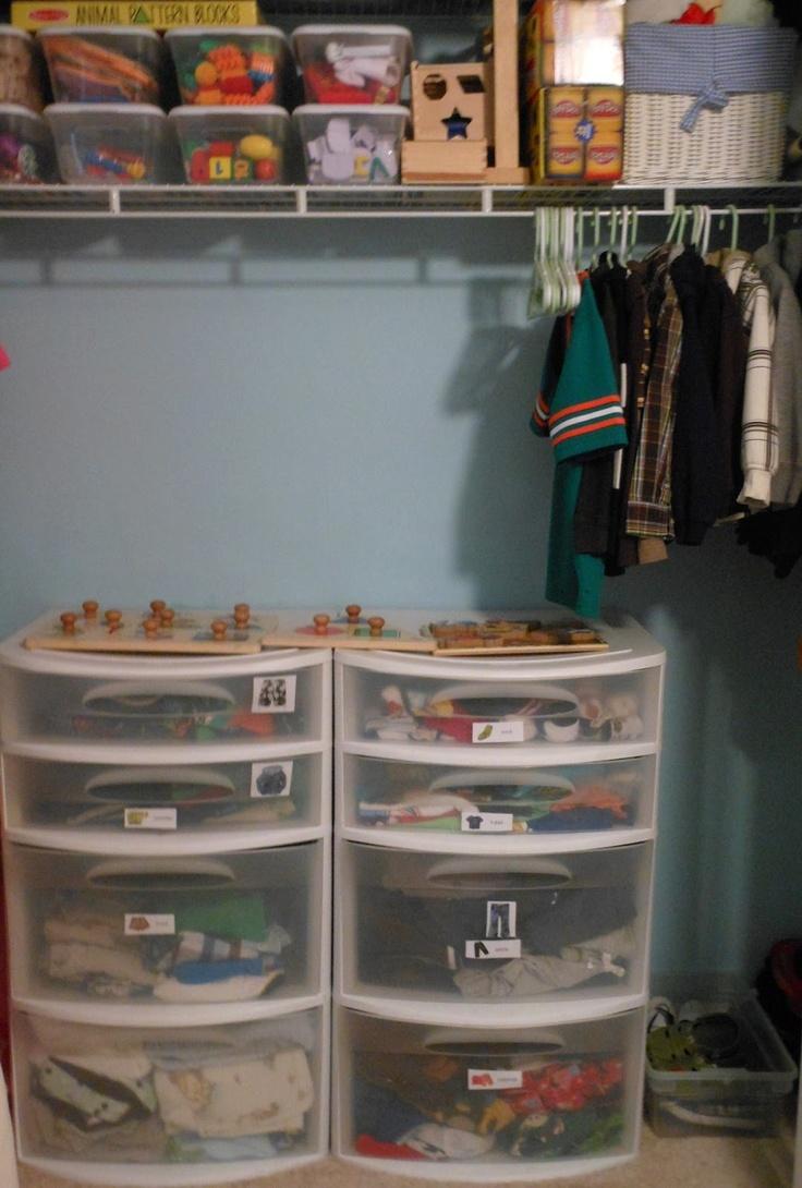 Organizing a Montessori Closet for 3-5 year old's {Montessori on a Budget}
