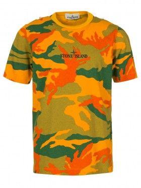 Stone Island Junior Yellow Camouflage T-Shirt