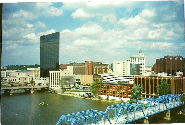 Downtown skyline from GVSU building - July 6, 1995