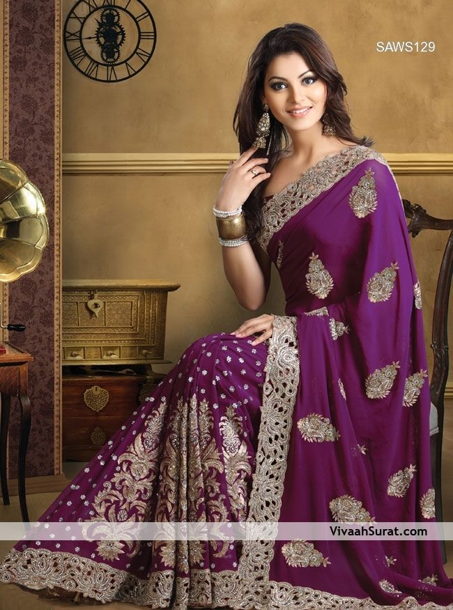 Beautiful Purple Pure Georgette Saree. Prev | Next    vivaahsurat.com