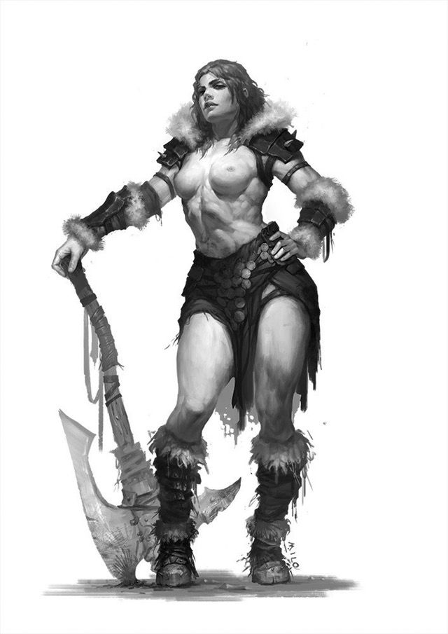 Topless barbarian babe