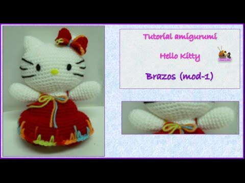 Tutorial amigurumi Hello Kitty - Orejas y rabo - YouTube